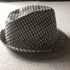Xhilaration navy and tan plaid fedora NWT